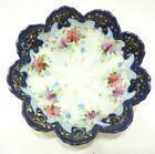 ANTIQUE 1850 1891 BOWL FLOW BLUE PORCELAIN FLOWER HAND PAINTED GOLD GILT JAPAN