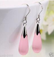 Fashion Women's New Pair Pink Opal Silver Hook Teardrop Dangle Earrings