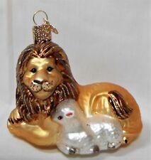 Vtg Merck Old World Christmas Ornament Mercury Blown Glass Lion & Lamb Figural