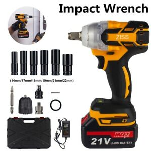 """21V Cordless Impact Wrench 1/2"""" 520Nm High Torque Brushless Drill with Battery"""