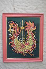 GIANT 1960s ROOSTER Mid Century Modern needlepoint VTG abstract framed chicken