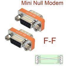 new Mini Null Modem DB9 feMale to DB9 feMale plug Adapter Gender Changer