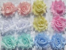 12 Baby Pastels small shabby chiffon flowers mixed pack - for hairbands, craft.
