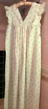 Vtg Christian Dior Paris Ny Long Nightgown Mint W/Tags Pink & White Sz. Med. Usa