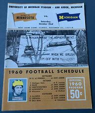 1960 Michigan vs Minnesota Gophers Football Game Program Little Brown Jug