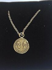 "Denarius Vespa Roman Coin WC27 Made From Pewter On 18"" Silver Plated Necklace"