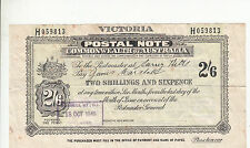 Postal Note 2/6 Victoria used 1949 Russell Street Melbourne postmark Surrey Hill