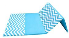 "Ak Athletics Chevron Zigzag 4' X 8' X 1 3/8"" Advanced Folding Gym Mat Blue/White"