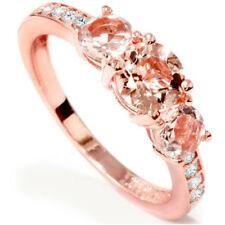 1ct Morganita Y Diamante 3 Piedra Anillo 10k Oro Rosa