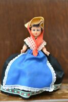 Fabulous VINTAGE Costume Doll of a Lady in a Black and Blue Dress - 15cm Tall