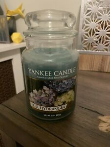 YANKEE CANDLE BLUE HYDRANGEA CANDLE ROMANTIC FLORAL PURE PLANT EXTRACT 22OZ JAR