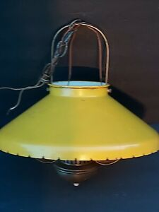 Vtg Industrial Pendant Lamp Ceiling Hanging Light Large Farmhouse Barn Hurricane