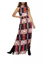 BCBG GENERATION Maxi Dress High Neck Fall NWT $128 Sleeveless Red Tan Navy