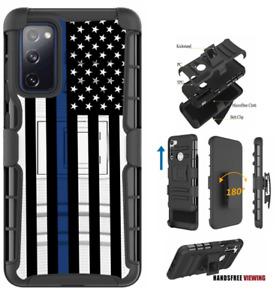For Samsung Galaxy NOTE Series Hybrid Belt Clip Holster Case Blue Line U.S.Flag