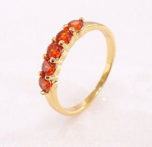 Red Pink Green Simulated Diamond 18K Gold Plated Engagement Wedding Ring K N M P