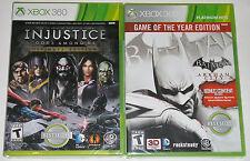 XBox 360 Game Lot - Injustice Gods Among Us (New) Batman Arkham City (New)