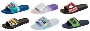 Kids Character Sliders Boys Girls Disney Marvel Summer Flip Flops Sandals Size