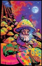 MUSHROOM MAN - BLACKLIGHT POSTER - 24X36 FLOCKED FANTASY SHROOMS GNOME 1966