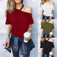 Women Sexy Halter Cold Shoulder Fitted Ladies Short Sleeve Tee Tops Blouse Shirt