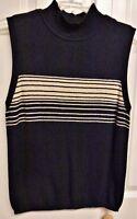 Casual Corner Women's Knit Top Size M Medium Black & Beige