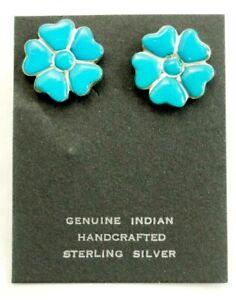 Wonderful 12 Stone Sleeping Beauty Turquoise Flower Earrings Sterling Silver