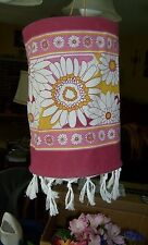 Pink, gold red hanging fabric lamp shade, sunroom, floral tropical with tassels