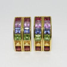 Clipstecker Ohrschmuck  Regenbogen Steine mit ca. 2,40ct  in 750/18K Gelbgold