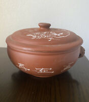 CHINESE YUNNAN REDWARE TERRACOTTA POTTERY STEAM POT WITH LID with Calligraphy