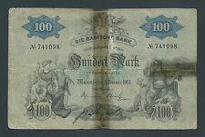 F.C. ALEMANIA GERMANY , BADISCHE BANK , 100 MARCOS 1907 , R/C ( G ) , P.S906b .