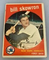 1959 Topps # 90 Moose Bill Skorwon Baseball Card New York Yankees