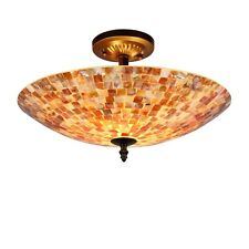 """Mosaic Tiffany Style Stained Glass Two Light 16"""" Semi Flush Ceiling Fixture"""