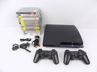 Ps3 Playstation 3 Slim Console CECH-2002A 120 Gb + 15 Games + 2x Controllers