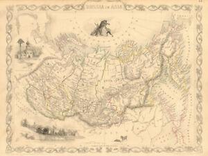 RUSSIA IN ASIA. Siberia Urals Far East. Troitsk view. RAPKIN/TALLIS 1851 map