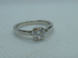 Ladies 18ct White Gold 47pt Diamond Solitaire Ring - Size N + Appraisal