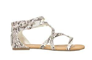 Soda Womens Aniston Gladiator Snake Print Strappy Flat Sandals