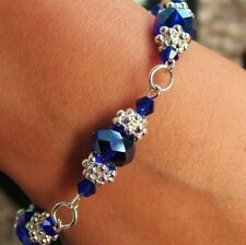 Crystal Cobalt & Silver Flower Bracelet Kit Jewellery Making