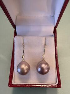 Edison/Ming Perlen Ohrringe  14k /585 Gold mit Diamanten