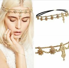 Party Vogue Women Girl Double Pearl Crystal Flower Head Chain Headband Hair Band
