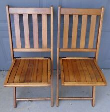 Pair of Vintage WOODEN SLAT Folding Chairs  WEDDINGS EVENTS