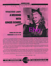 """""""Vivacious Lady: Weekend with Ginger Rogers"""" Assorted Programs of Tribute 8 Pgs."""