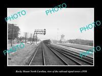 OLD LARGE HISTORIC PHOTO, ROCKY MOUNT NORTH CAROLINA RAILROAD SIGNAL TOWER c1950