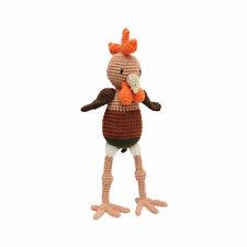 Brown-Orange Rooster Handmade Amigurumi Stuffed Toy Knit Crochet Doll VAC