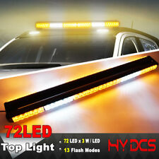 "35"" 72 LED 216W Emergency Warn Hazard Double Side Strobe Light Bar Amber White Y"