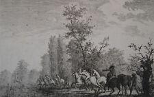 Eau-forte MCP DESFONTAINES La chasse à cour, 2nd moitié XVIIIème