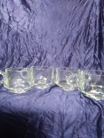 4 Hazel Atlas Snack Cup Clear Glass Ribbed Boopie Handle
