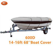 Premium 600D 14-16ft 68'' Marine Grade Trailerable Fishing Boat Cover Light Gray
