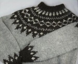 Icelandic / Nordic Sweater / Jumper Small / Medium - Grey / Brown / White Wool
