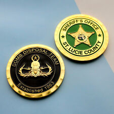 challenge coin  Bomb Squad Palm Beach Florida Police gold plated