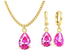 Genuine yellow gold plated jewellery set sparkling pink teardrop gems gift bag