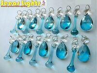 RETRO BLUE ANTIQUE TEAL CHANDELIER CRYSTALS GLASS 20 BEADS DROP VINTAGE DROPLETS